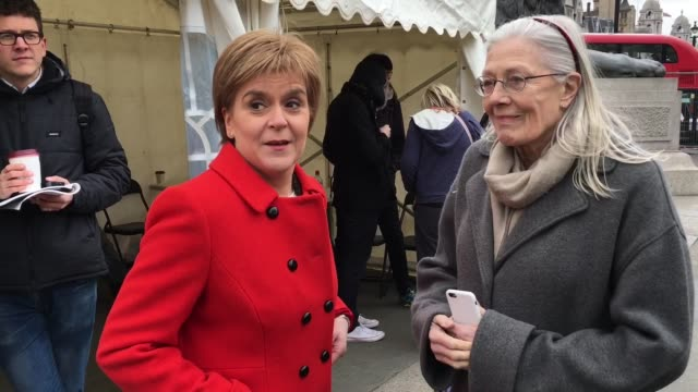 first minister of scotland snp leader nicola sturgeon and vanessa redgrave at stop trident demonstration takes place in central london on february 27... - 三叉槍点の映像素材/bロール