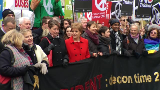 First Minister of Scotland SNP leader Nicola Sturgeon at the Stop Trident Demonstration Takes Place In Central London on February 27 2016 in London...
