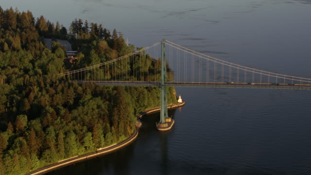 aerial first narrows bridge at stanley park in morning light - vancouver canada stock videos and b-roll footage