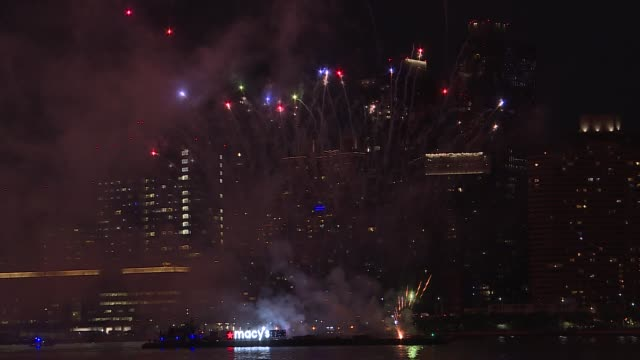 first night of macy's fireworks display over the empire state building for the 4th of july week in queens, new york city, united states on june 29,... - firework display stock videos & royalty-free footage