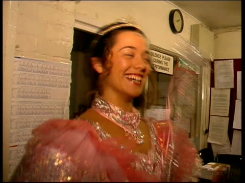 2000 celebrity claire strutton strutton preparing for appearance in pantomime strutton's picture on pantomime poster pull strutton interview sot... - christmas poster stock videos & royalty-free footage