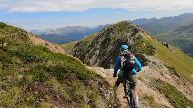 first person perspective following female mountain biker - active seniors stock videos & royalty-free footage
