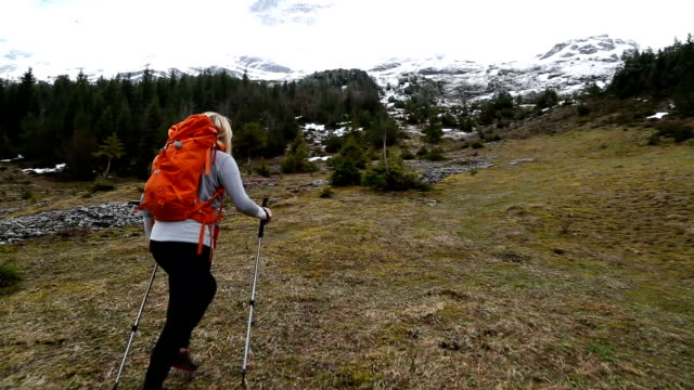 First person perspective of a woman hiking in the European Alps
