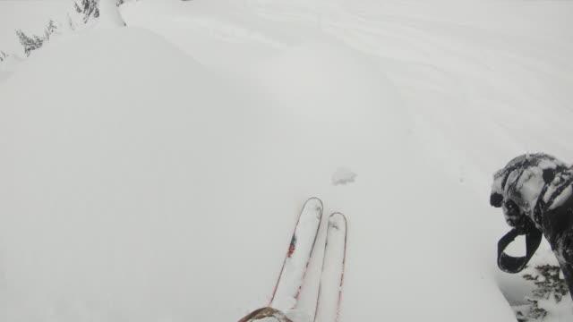 prospettiva in prima persona sciare lungo una ripida pista di polvere - bastoncino da sci video stock e b–roll