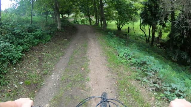 erster blick auf einen mountainbiker, der durch bewaldete radwege in der tessiner schweiz fährt - footpath stock-videos und b-roll-filmmaterial