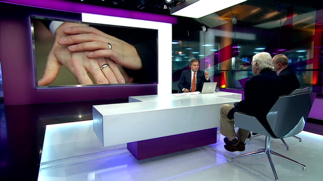 first same sex wedding ceremonies take place; england: london: gir: int brian sewell and mike freer mp live studio interviews sot - report produced segment stock videos & royalty-free footage