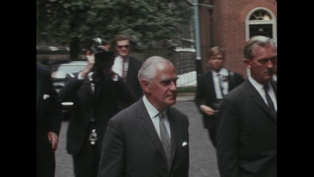 First Secretary of State Michael Stewart arrives at Downing Street for a meeting on the Russian invasion of Czechoslovakia