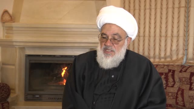 first secretarygeneral of hezbollah subhi altufayli makes a speech during an exclusive interview in beirut lebanon on december 27 2016 - hezbollah stock videos & royalty-free footage