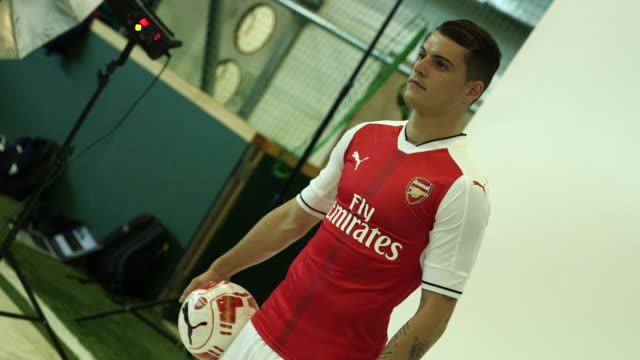 first shots of arsenal's new signing granit xhaka - puma stock videos & royalty-free footage