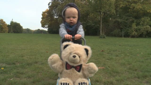 first steps of a one year old boy - teddy bear stock videos and b-roll footage