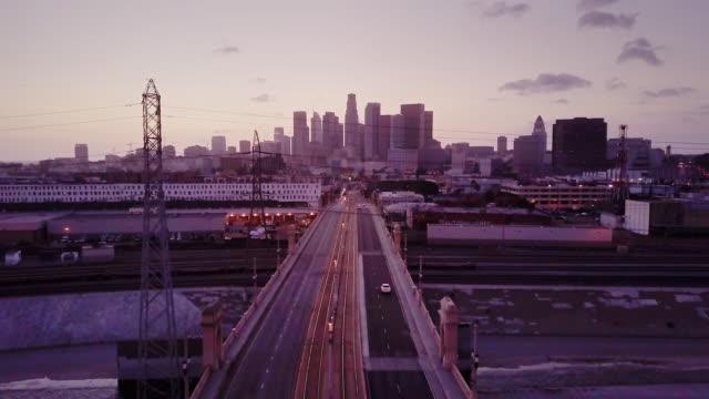 First Street Bridge, Los Angeles at Twilight - Aerial Shot