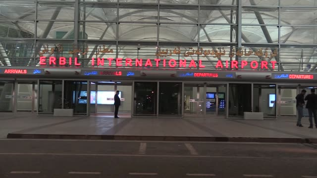 first turkish plane lands at erbil international airport in erbil the administrative capital of northern iraq's kurdish region on march 27 2018 after... - iraqi flag stock videos and b-roll footage