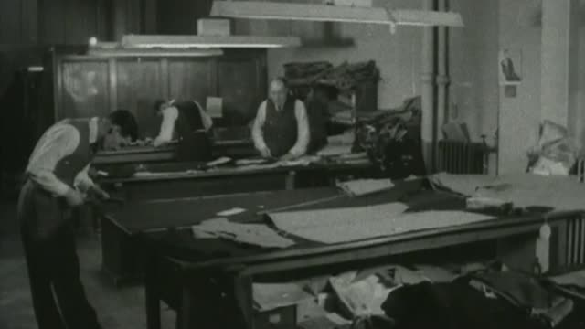 first woman tailor opens savile row shop s03030701 / 2511956 london savile row ext tailor's shop tailors working in tailor's shop tailor pressing... - savile row stock videos and b-roll footage