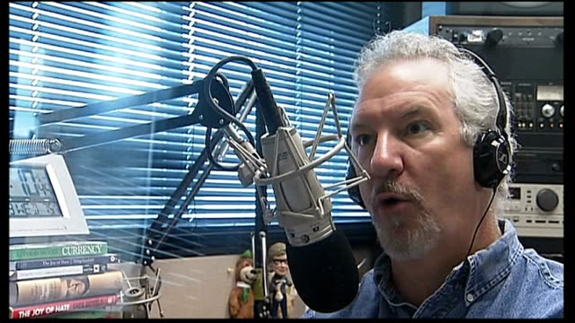 fiscal stalemate continues: report from tennessee; int various shots of phil valentine speaking on air on radio talk show sot spines of books 'thomas... - talk show stock videos & royalty-free footage