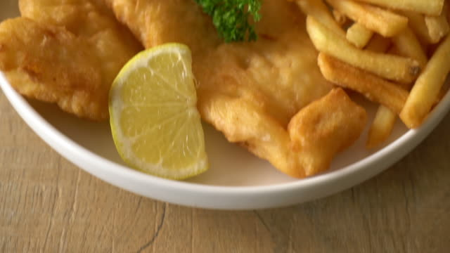 fish and chips with french fries - plaque bacteria stock videos & royalty-free footage