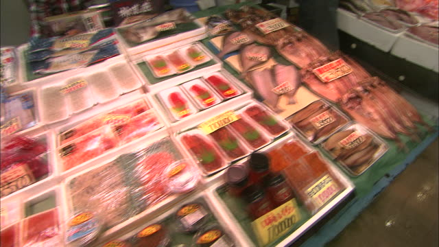 vídeos de stock, filmes e b-roll de fish and shellfish are displayed for sale at the front of a store - grupo mediano de animales