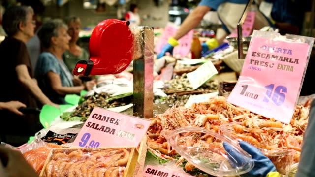 fish at boqueria market in barcelona - spanish culture stock videos & royalty-free footage