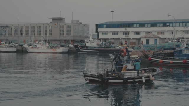 fish boat at the fishing harbor of vigo, galicia, spain - galicia stock videos & royalty-free footage