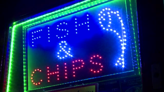 fish & chips neon sign - english language stock videos & royalty-free footage