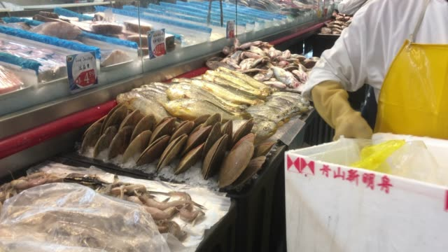 fish counter at a chinese grocery in atlanta, usa - customer focused stock videos & royalty-free footage