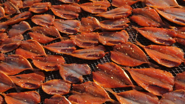 cu pan fish drying in sun / vietnam - trocknen stock-videos und b-roll-filmmaterial