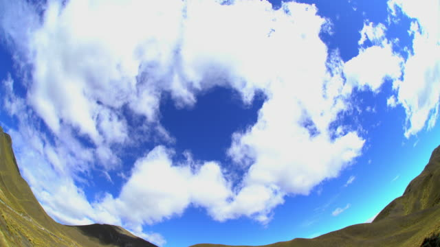 fish eye photography southern alps cloudscape new zealand - new zealand southern alps stock videos & royalty-free footage