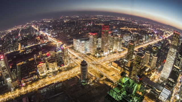 T/L HA TD Fish eye View of Beijing Urban Skyline, Dusk to Night Transition / Beijing, China