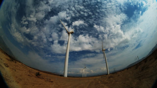 ws fish eye view of wind turbines / palm springs, california, usa - medium group of objects stock videos & royalty-free footage