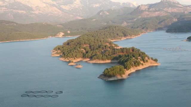 Fish farm in Karacaoren lake, Turkey