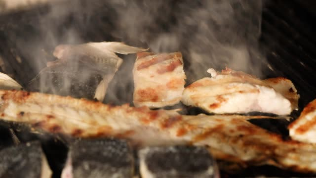 fish grill - grilled salmon stock videos & royalty-free footage