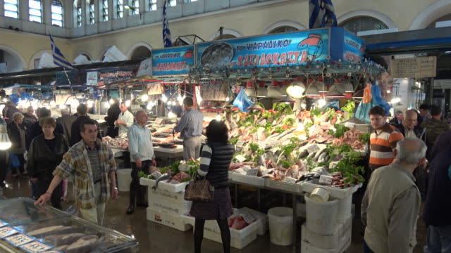 fish market athens - athens greece stock-videos und b-roll-filmmaterial