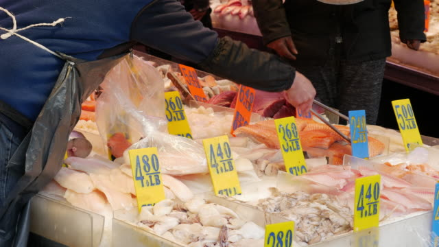 fish market in new york city chinatown - price tag stock videos & royalty-free footage