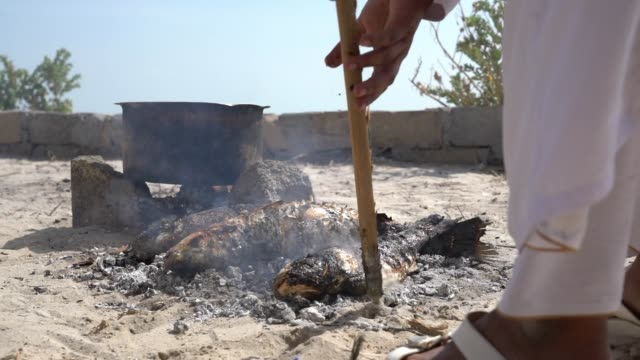 ms fish roasting in the embers of firewood - oman stock videos & royalty-free footage
