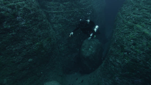 fish swim past diver in crevice near yonaguni monument. japan - aqualung diving equipment stock videos & royalty-free footage