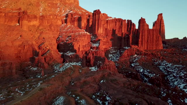 fisher towers, moab utah drone shot - sandstone stock videos & royalty-free footage