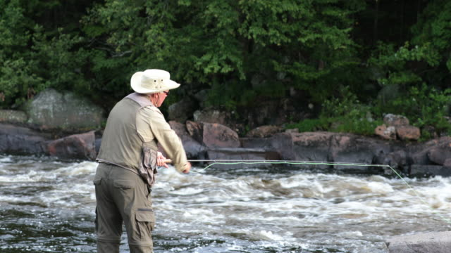 fisherman fly fishing in river in the morning - fly fishing stock videos and b-roll footage