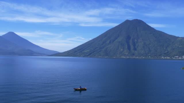 fisherman in atitlan lake - guatemala stock videos & royalty-free footage