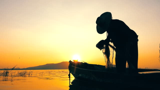 fisherman on longtail boat fishing at sunset in thailand - netting stock videos and b-roll footage
