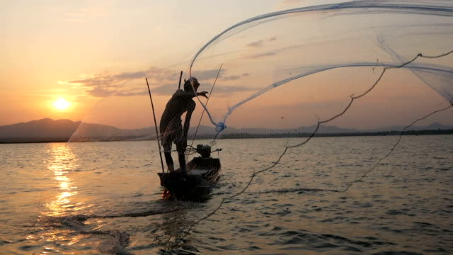 fisherman on longtail boat fishing - fisherman stock videos & royalty-free footage