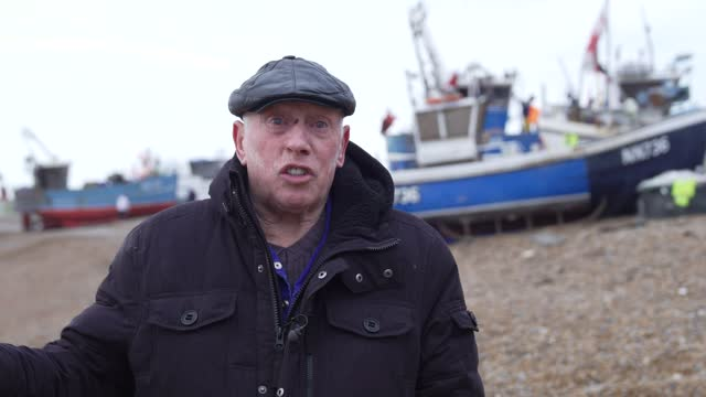 fisherman paul joy talks about brexit, fishing quarters, the eu's deal with the uk and the future of the fishing industry in hastings u.k. on friday,... - politics and government stock videos & royalty-free footage