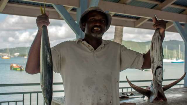 A fisherman sells fish at the fish market of St. Anne, Martinique