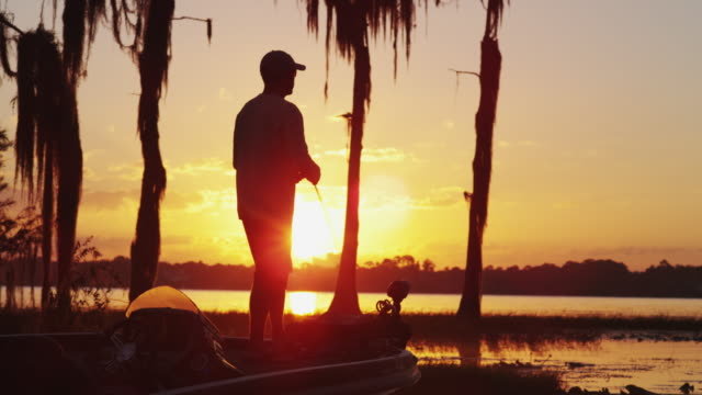 a fisherman stands on his boat casting on a lake silhouetted against an orange sunset. - tampa stock videos & royalty-free footage