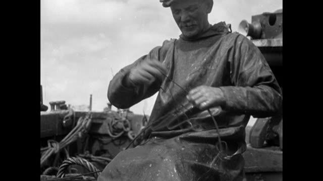 MONTAGE Fisherman tying hooks on fishing line / Skye, Scotland, United Kingdom