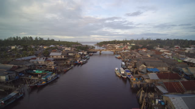 fisherman village in belitung indonesia - fishing village stock videos and b-roll footage