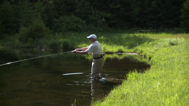 ws pan fisherman wading into water of forest lake, morristown, vermont, usa - baseballmütze stock-videos und b-roll-filmmaterial