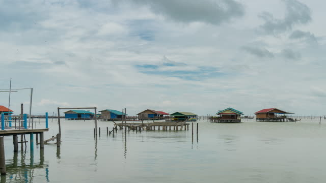 fisherman's village time lapse - songkhla province stock videos and b-roll footage