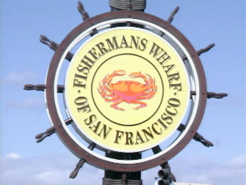 cu fisherman's wharf of san francisco ship wheel sign / san francisco, california, usa  - western script stock videos & royalty-free footage