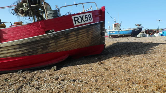 fishermen and fishing at beached launched fishing fleet in hastings, uk on wednesday, november 4, 2020. - kelp stock videos & royalty-free footage