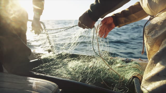 fishermen at work on the fishing boat: pulling the nets - fishing industry stock videos & royalty-free footage
