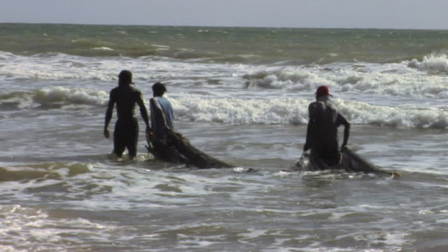 ws zi pan fishermen dragging fishing net through sea / trinidad and tobago - kelly mason videos stock videos & royalty-free footage